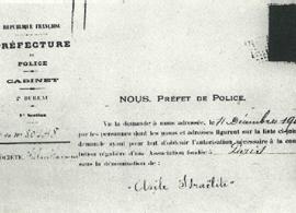 24 décembre 1900, fac-‐similé de la lettre du Préfet Lépine autorisant la création de l'Association.